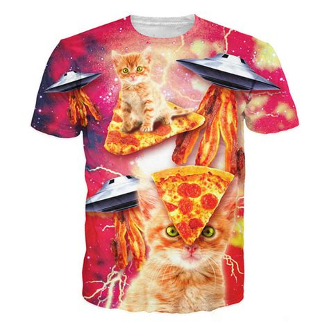 pizza pattern t shirt cat 3d printed t shirts women lovely animal bacon pizza