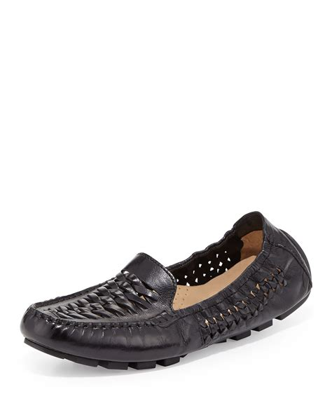 cole haan leather loafers lyst cole haan huarache leather loafer in black