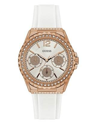 Guess Gs9086 Gold White white and gold tone sparkle guess