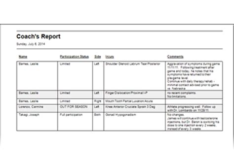 sports injury report form template flantech welcome