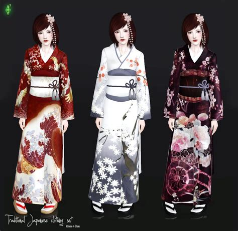 2pcs Japanese Style Dress japanese formal kimono search sims 4 cc traditional the sims and dress