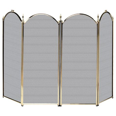 Brass Fireplace Screen by 4 Fold Polished Brass Screen With Decorative Filigree Appliances Heating Fireplace Accessories
