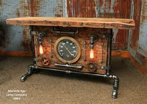 Steampunk industrial table lamp stand console barn wood