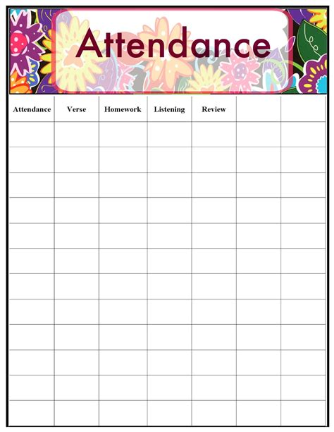 sunday school attendance template 28 images blank