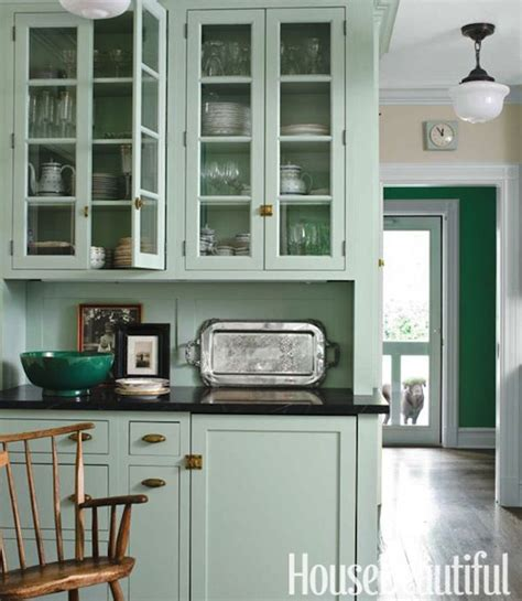 house beautiful inspired kitchen grace painted kitchen cabinets brass hardware kitchen beautiful green cabinets