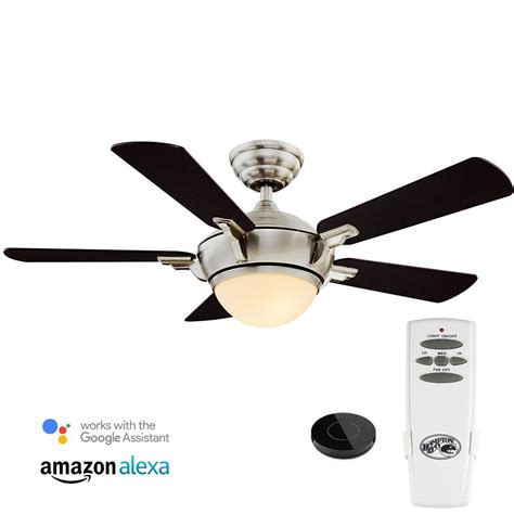 44 ceiling fan with light hton bay vaurgas 44 in led indoor brushed nickel