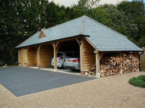 Oak Framed Car Port by Gallery M Tech Timber Framing Limited