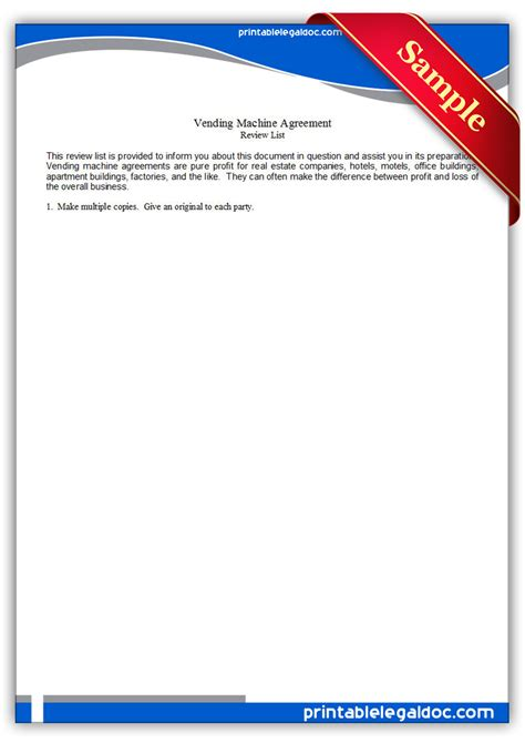 Free Printable Vending Machine Agreement Form Generic Vending Machine Contract Template