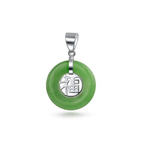 green jade fortune 925 sterling silver pendant