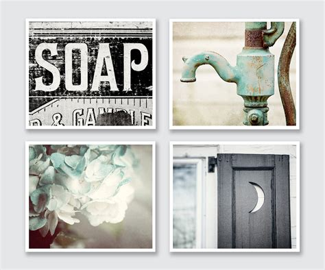 wall art bathroom decor rustic bathroom decor set of 4 prints or canvas art bathroom