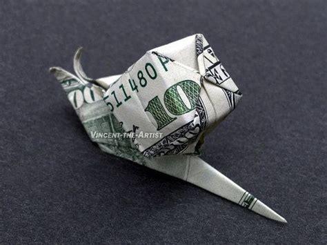 Money Origami Animals - snail money origami animal dollar bill
