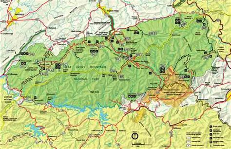 great smoky mountains national park map smoky mountain trail map great smoky mountains national park map