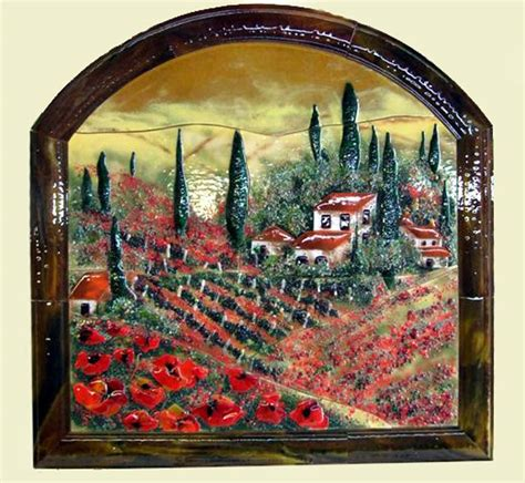 glass wall murals fused glass wall mural in tuscan theme with poppies designer glass mosaics