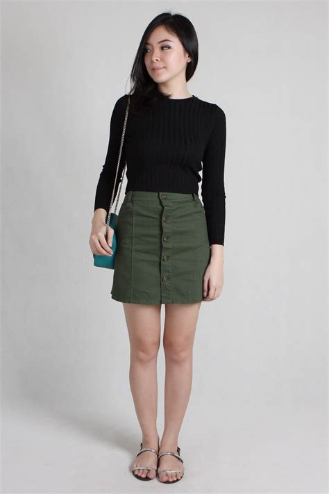 khaki denim skirt redskirtz