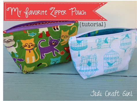 free pattern lined zippered pouch jedi craft girl my favorite zipper pouch tutorial