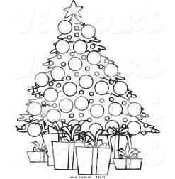 vector cartoon christmas tree gifts coloring outline ron leishman 14271