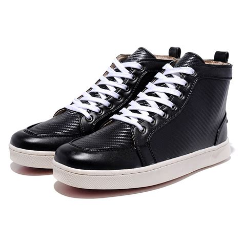 mens leather high top sneakers mens high top logo printed leather black bottom sneakers