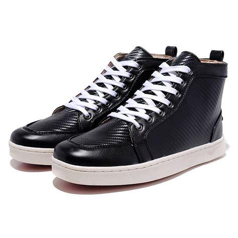 mens black high top sneakers mens high top logo printed leather black bottom sneakers