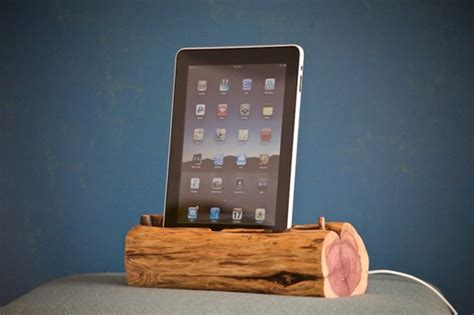 rustic charging station woodtec s rustic ipad docking stations made from logs