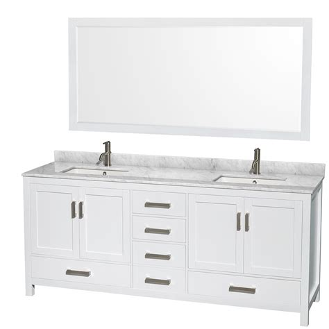 80 double sink bathroom vanity sheffield 80 inch double sink bathroom vanity white finish