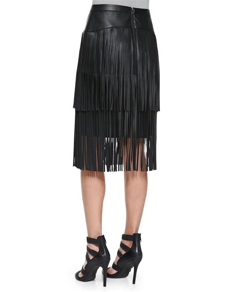 bcbgmaxazria rashell fringe faux leather pencil skirt in