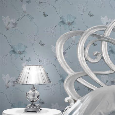 metallic blue wallpaper uk muriva amelia floral duck egg metallic wallpaper 701412