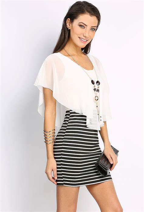 striped mini dress w necklace shop best sellers at papaya clothing