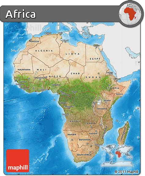 africa map sea free satellite map of africa single color outside