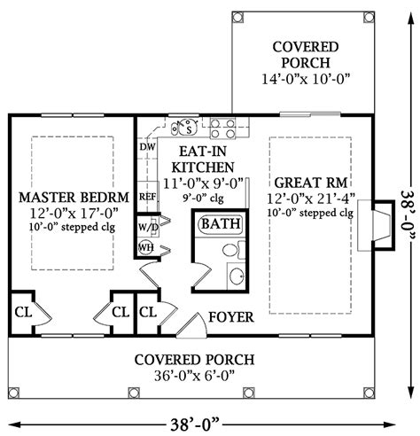 small one bedroom house plans one bedroom open floor plans