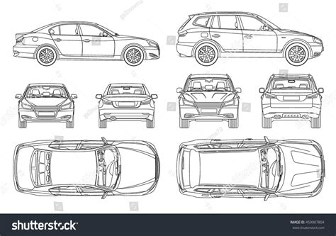 Home Design Checklist royalty free car sedan and suv drawing outline 459007804