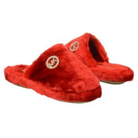 mk house slippers amazon com michael kors jet set mk faux fur red slippers house shoes womens size 5 shoes