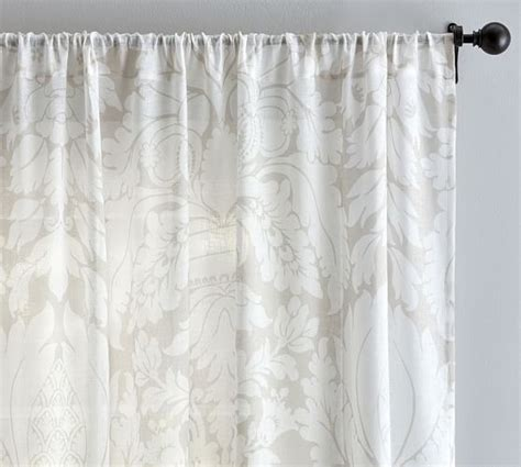 damask sheer curtains damask printed sheer drape pottery barn