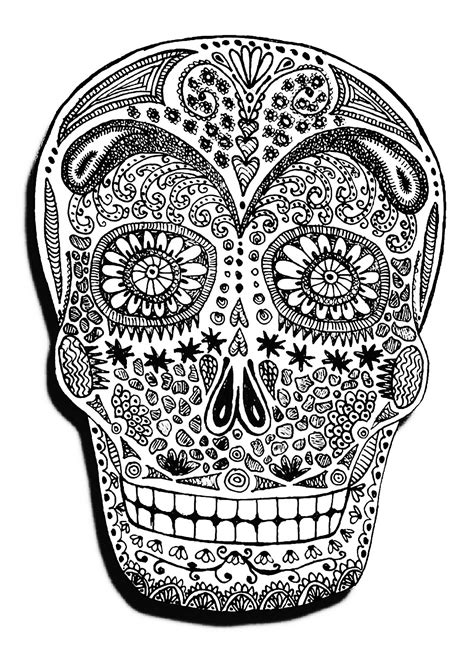 Halloween skeleton head - Halloween Adult Coloring Pages