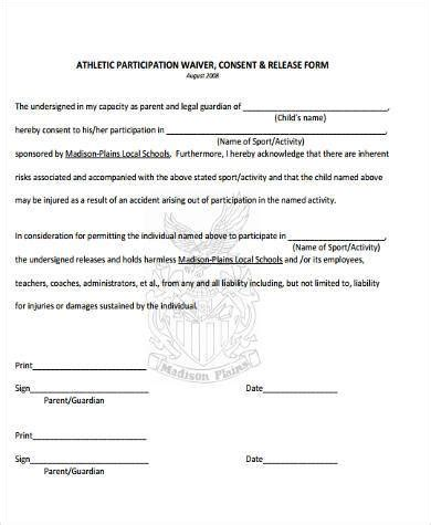 participation form template sle athlete waiver forms 9 free documents in word pdf