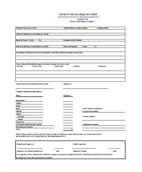 request form template 10 travel request forms sle templates