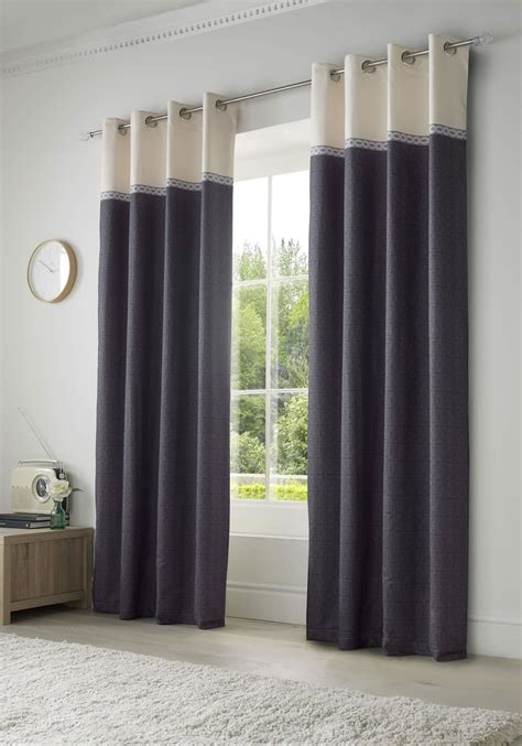 Lined Eyelet Curtains Seattle Ready Made Ring Top Pairs
