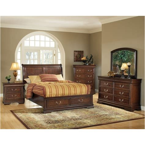 queen bedroom set with storage drawers acme 5 pc hennessy collection cherry brown finish wood