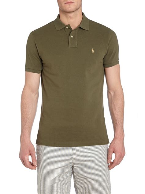 polo ralph custom fit mesh polo shirt in green for