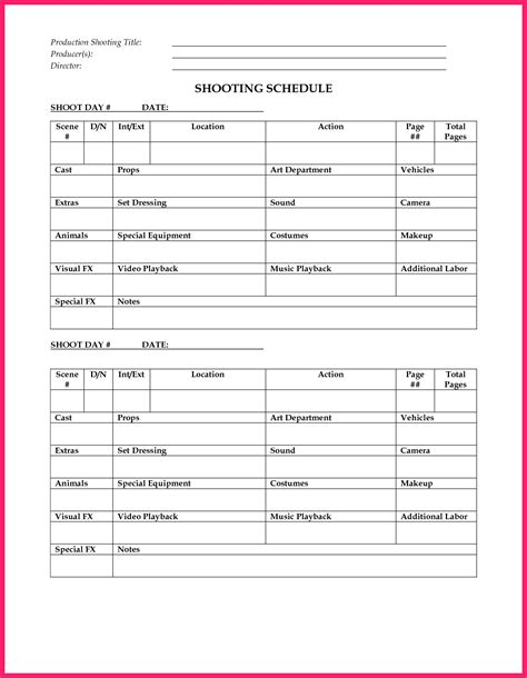 shooting schedule template bio letter format