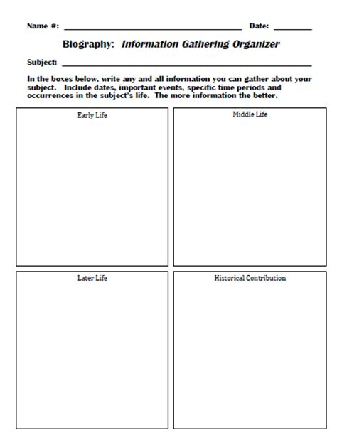 fourth grade biography graphic organizer search results for graphic organizer biography 5th grade