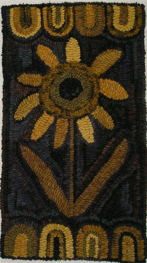 sunflower rugs hooked rug early style primitive autumn sunflower rug