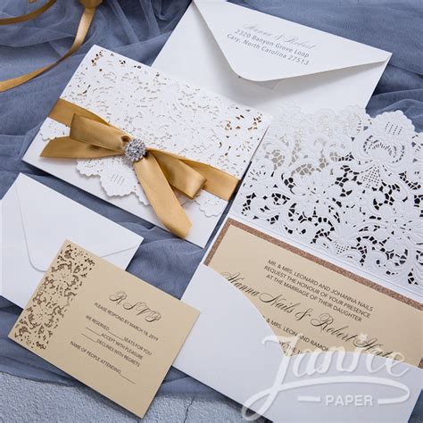 Wedding Invitations Laser Cut by Graceful Pearl White Laser Cut Pocket Wholesale Wedding