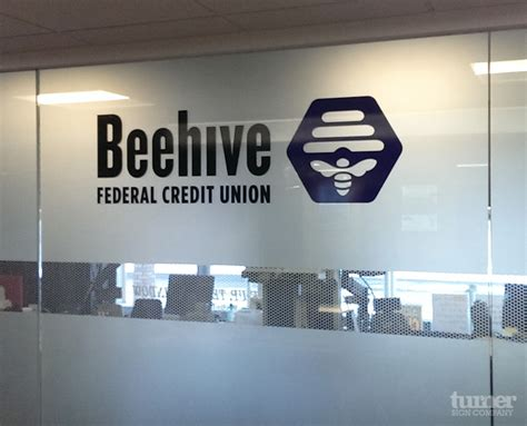 hive union beehive credit union indoor vinyl sign turner sign co