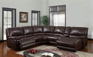 Sectional Sofas With Recliners U1953 6pc Reclining Sectional Sofa In Brown Bonded Leather