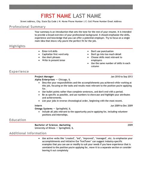 resume outline free free professional resume templates livecareer