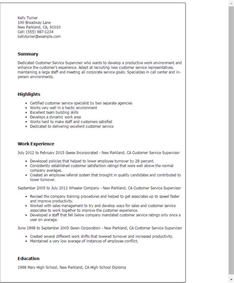 Customer Service Supervisor Resume 1 customer service supervisor resume templates try them