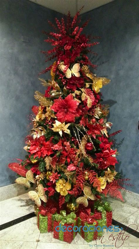 decoracion arboles de navidad 2013 193 rbol de navidad decorado en rojo y dorado 2013