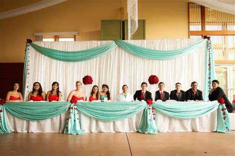 my daughters quinceanera table blue and