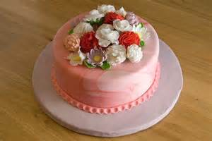 night baking 3rd blogiversary fondant flower garden cake