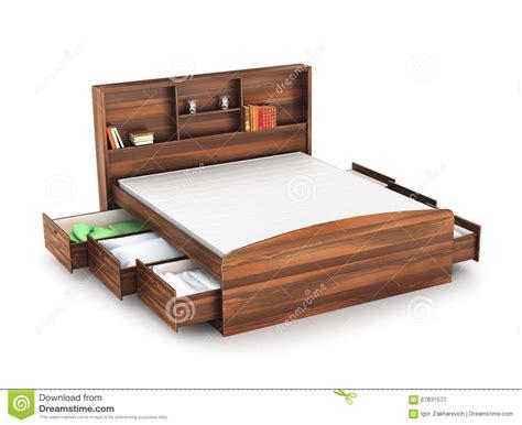letto di letto di legno con il cassetto aperto immagine stock